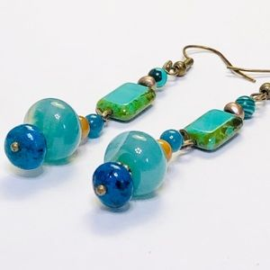 INSPIRE Green Onyx Chrysocolla Tiger Eye Earrings